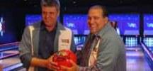 Owner Patrick Lyons with Rosmont Mayor Bradley Stephens